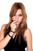 Teen rebellious girl isolated on a over white background