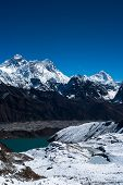 Everest, Nuptse, Lhotse And Makalu Peaks. Gokyo Lake And Village