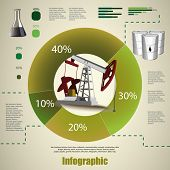 Oil pump vector image. Oil and gas industry infographic