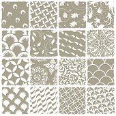 verschiedene Stile nahtlose Muster festgelegt. Alle Muster in Farbfeld-Palette zur Verfügung. Raster-version