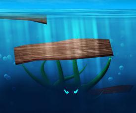 stock photo of kraken  - Green Kraken in Water Image Background Texture - JPG