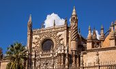Prince Door Rose Window Towers Gothic Cathedral Of Saint Mary Of The See Seville Spain