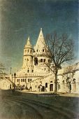 Vintage photo of Fisherman Bastion on the Buda Castle hill in Budapest, Hungary