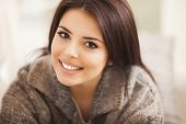 picture of european  - Closeup portrait of a young beautiful lady looking at camera - JPG