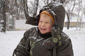 pic of ruddy-faced  - funny winter portrait of happy little boy - JPG