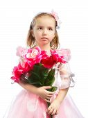 image of little girls photo-models  - beautiful little girl with red rose bouquet - JPG