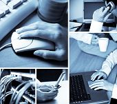 stock photo of people work  - A collage of technology related images showing people working with computers in blue tone - JPG