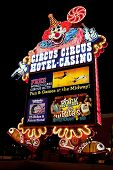 Circus Circus Casino And Hotel Resort On The Las Vegas Strip At Night