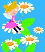 picture of tinkerbell  - Illustration of a cute flower fairy and flower - JPG