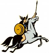 image of valkyrie  - Illustration of valkyrie of Norse mythology female rider warriors riding horse with spear done in retro style - JPG