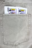 Closeup to jeans pocket with game cards
