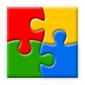 Four Colorful Puzzles Illustration