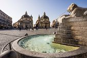 picture of piazza  - Piazza del Popolo with twin churches in Rome - JPG