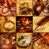 Vintage compass, magnifying glass, pocket watch, quill pen, spyglass lie on an old ancient map with