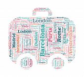 European Cities Bag Shaped Word Cloud On White Background - Tourism & Travel Concept