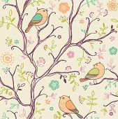 spring birds seamless pattern. colorful texture