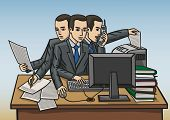 picture of scribes  - a man in the office is working hard at his desk - JPG