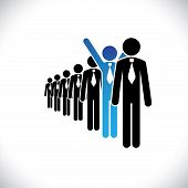 Concept Of Winner Employee, Champion Worker- Vector Graphic