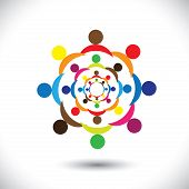 Abstract Colorful People Signs In Circles- Vector Graphic