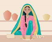 image of salwar-kameez  - an illustration of an indian woman rolling out chapattis dressed in traditional clothing with shelves and pots on a brown background - JPG