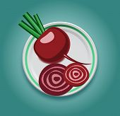 beet on a plate with slices
