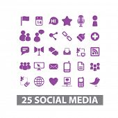 social media networks, blog, internet site, web isolated icons set, vector