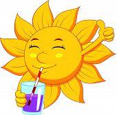 Sun cartoon character drinking