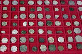 stock photo of copper coins  - close up of old sillver coins collection - JPG