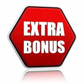 Extra Bonus In Red Hexagon Banner