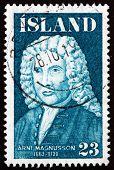 Postage Stamp Iceland 1975 Arni Magnusson, Historian