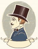 Elegant Gentleman In A Top Black Hat.vector Vintage Portrait With Scroll For Text