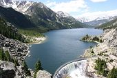 stock photo of hydroelectric  - Mystic Lake Dam is a two - JPG