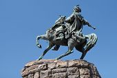 stock photo of bohdan  - Equestrian statue of Hetman Bogdan khmelnytsky in Kiev Ukraine - JPG