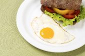 Sandwich With Vegetables With Baked Hen Egg