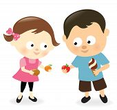 Girl and boy sharing sweets and fruits