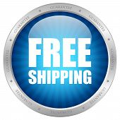 Vector blue free shipping icon
