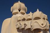 The Roof Of Casa Mila In Barcelona (spain)