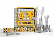 3d render of a isolated app download icon repair set