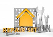 Illustration of a abstract building pictogram repair set