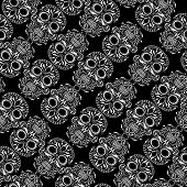 Day of the Dead skull tile repeating pattern