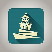 stock photo of yellow castle  - Blue and light yellow flat castle icon with shadow for web and mobile applications - JPG