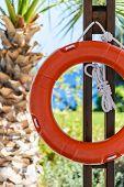 Orange Life Buoy With Rope Hanging Around The Pool