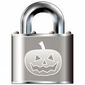 Halloween pumpkin on secure lock