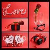 Valentines Day Or Love Theme Collage Of Five Images Including The Word, Love, Loving Message On Red