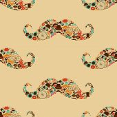 Vector Hipster Mustache Colorful Seamless Pattern Background