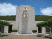 image of punchbowl  - Statue of woman located in Punchbowl Crater cemetary of Honolulu - JPG