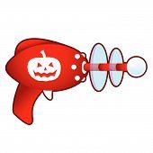 Halloween pumpkin on retro raygun