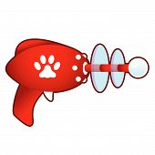 Paw print on retro raygun