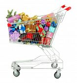 Christmas gifts in shopping trolley, isolated on white