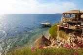 Outdoor Restaurant And Beach At The Luxury Hotel, Sharm El Sheikh, Egypt